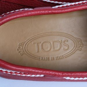 Tod's Gommino Red Leather Loafer Moccasin Size 8